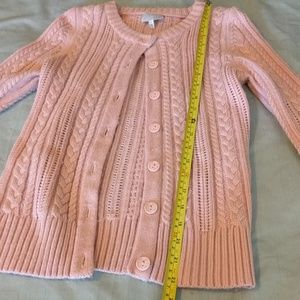Tildon Sweaters - Pink Cable Knit 3/4 Sleeve Cardi